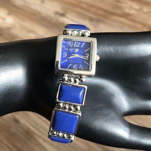 Womens Bracelet Watch Silver Tone Blue Stone